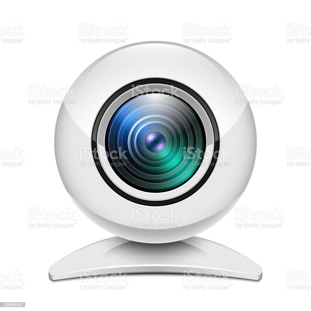 Realistic white web camera icon vector art illustration