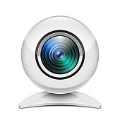Realistic white web camera icon