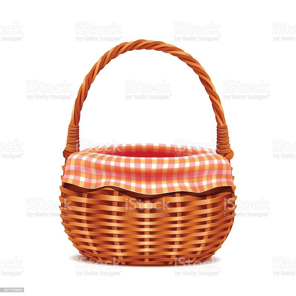 Realistic wicker basket. vector art illustration