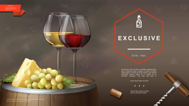 ilustrações de stock, clip art, desenhos animados e ícones de realistic winemaking background - queijo