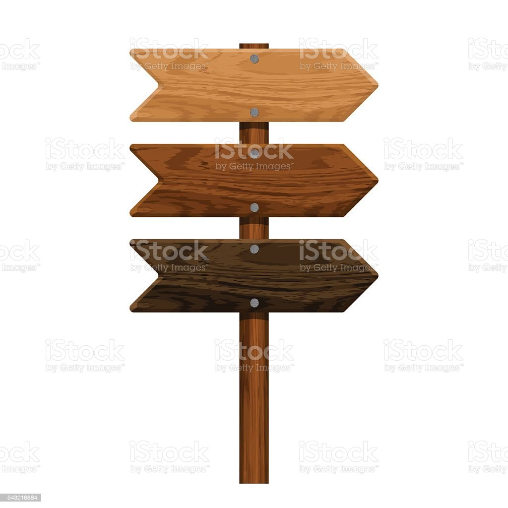 realistic wooden arrow set nailed isolated on white background. vector art illustration