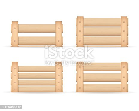 Realistic wooden box for vegetables keeping and fruits. Isolated on white background. Box for storage and transportation of food. Vector illustration