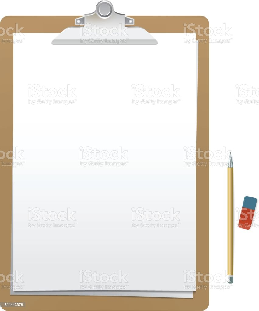 realistic wooden clipboard with white empty page pencil and eraser