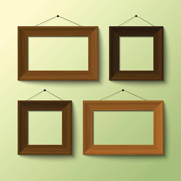 bildbanksillustrationer, clip art samt tecknat material och ikoner med realistic wooden frames for objects - painting wall