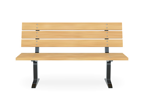 Realistic wooden park bench. Front view vector illustration.