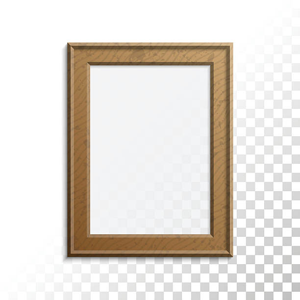 realistic wooden photo frame. - fotoposen stock-grafiken, -clipart, -cartoons und -symbole