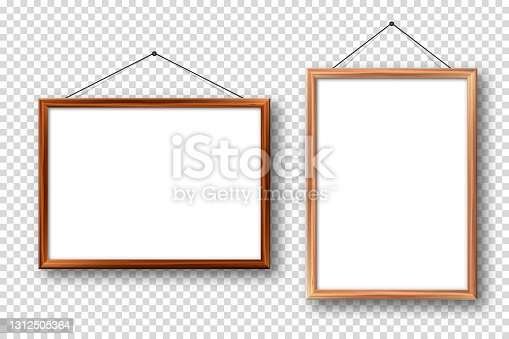 istock Realistic wooden picture frames with shadow on checkered background. Hanging on a wall blank poster mockup. Empty photo frame. Vector illustration 1312505364