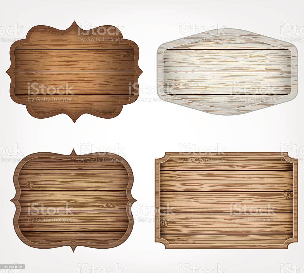 4 realistic wooden signs set. Decoration elements. - ilustración de arte vectorial