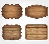 4 realistic wooden signs set. Decoration elements. Vintage style. Vector illustration