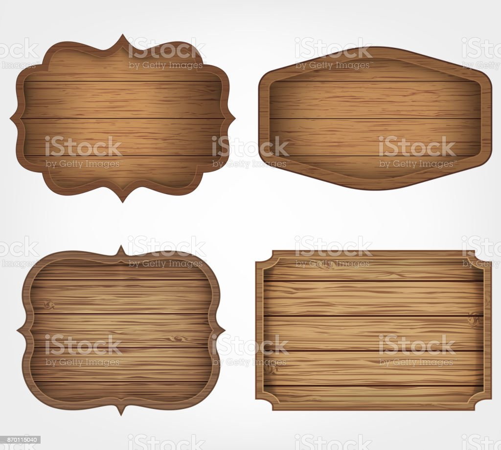 4 realistic wooden signs set. Decoration elements. Vintage style. Vector vector art illustration