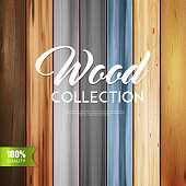 Realistic wooden texture vertical set background with calligraphic text and stripes of wood boards with different patterns vector illustration