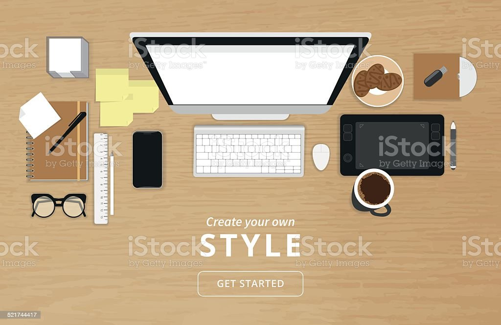 Realistic workplace organization vector art illustration