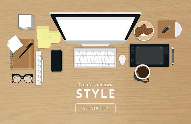 illustrazioni stock, clip art, cartoni animati e icone di tendenza di realistico l'organizzazione del posto di lavoro - tavolo legno