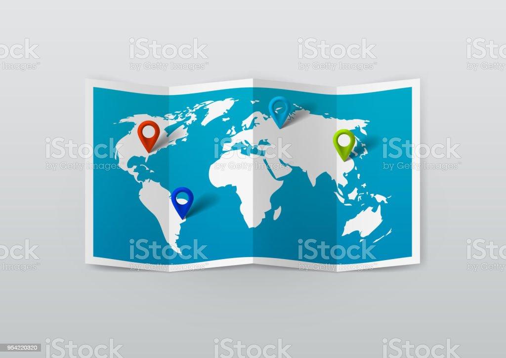 Carte Du Monde Realiste.Carte Du Monde Realiste Avec Des Epingles De La Balise Vecteurs