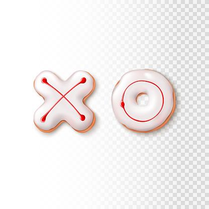 Realistic XO cookies isolated