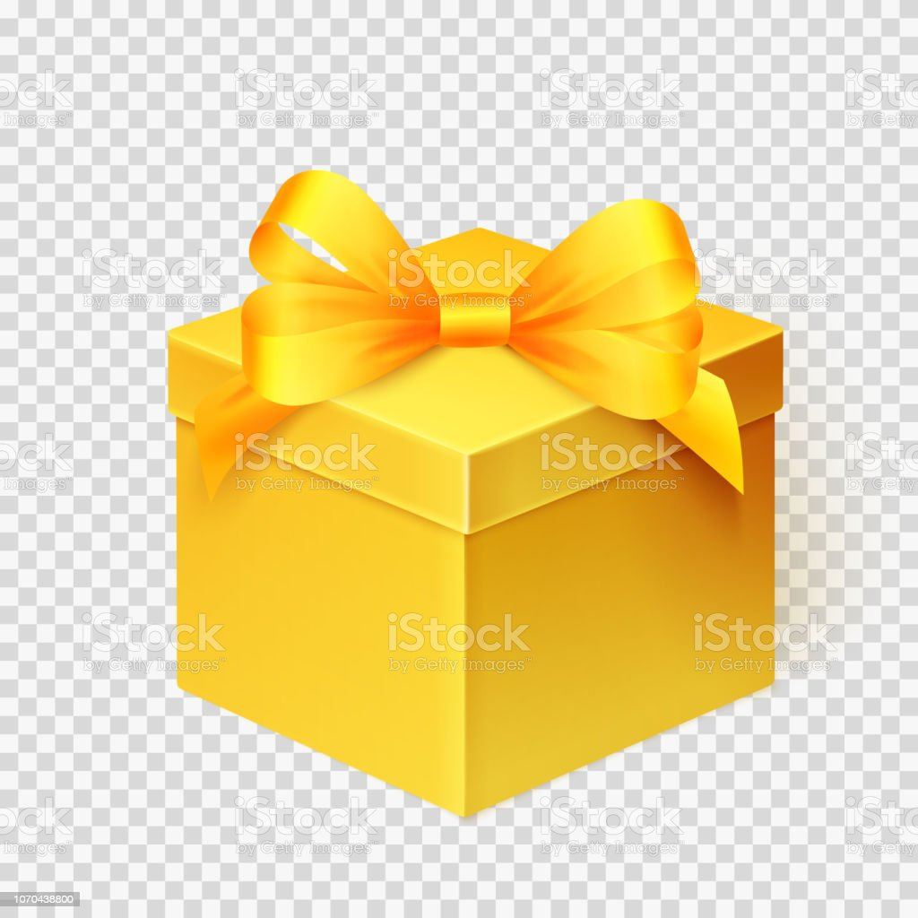 Christmas Gift Box Template.Realistic Yellow Gift Box With Ribbon Design Template For Holiday Christmas Present Vector Illustration Stock Illustration Download Image Now