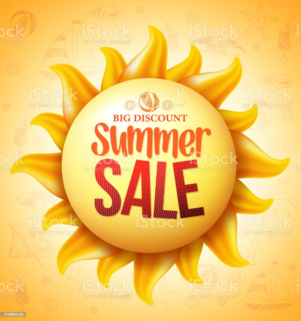 3D Realistic Yellow Sun with Summer Sale Discount vector art illustration