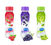 Isolated and colored realistic drinkable yogurt fruit and berries package design icon set