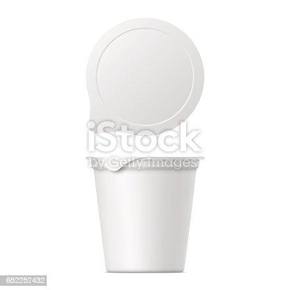 realistic yogurt, ice cream or sour creme package