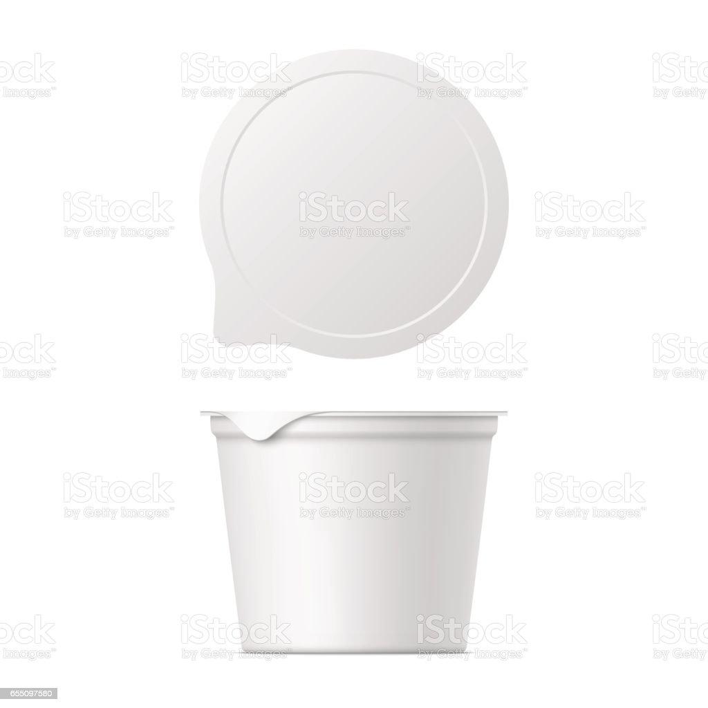 realistic yogurt, ice cream or sour creme package vector art illustration