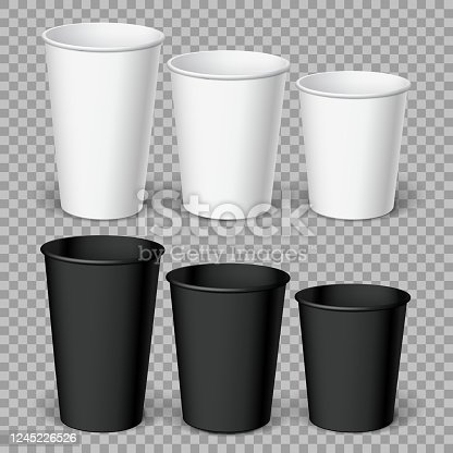 Realistics Black and white Disposable papers Cups.