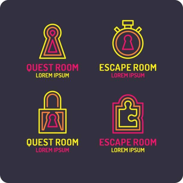 illustrazioni stock, clip art, cartoni animati e icone di tendenza di real-life room escape. the icon for the quest room - real life