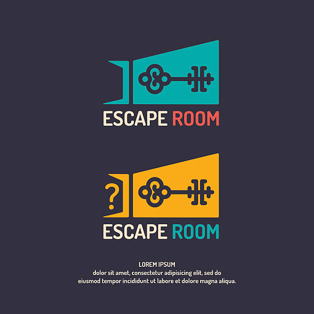 Real-life room escape. Real-life room escape. The logo for the quest room. escaping stock illustrations