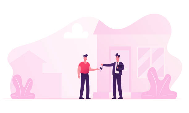 Realtor Selling or Renting House to Young Man Buying Home. Manager Male Character Wearing Formal Suit Make Deal with Owner of House Giving him Key for New Living Place Cartoon Flat Vector Illustration Realtor Selling or Renting House to Young Man Buying Home. Manager Male Character Wearing Formal Suit Make Deal with Owner of House Giving him Key for New Living Place Cartoon Flat Vector Illustration front stoop stock illustrations