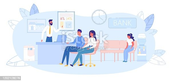 Realtor Showing Advantage of Buying New Real Estate to Family Couple with Child Sitting Indoors Office. Finance and Bank, Credit and Mortgage. Realty to Purchase Offer. Modern Flat Vector Illustration