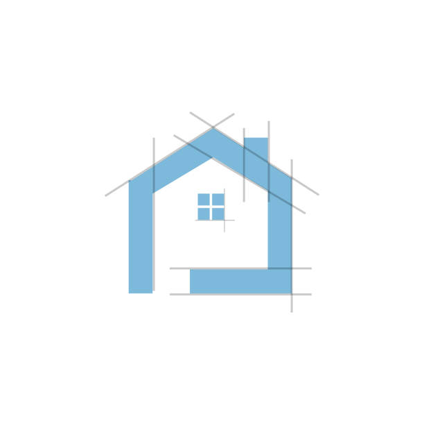 Realty architecture logo Realty architecture grid line house vector logo bathroom borders stock illustrations