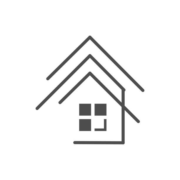 ilustrações de stock, clip art, desenhos animados e ícones de realty logo design vector concept and idea - obras em casa janelas