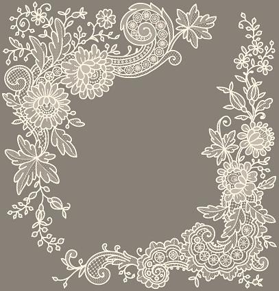 Сream-colored lace Corners.