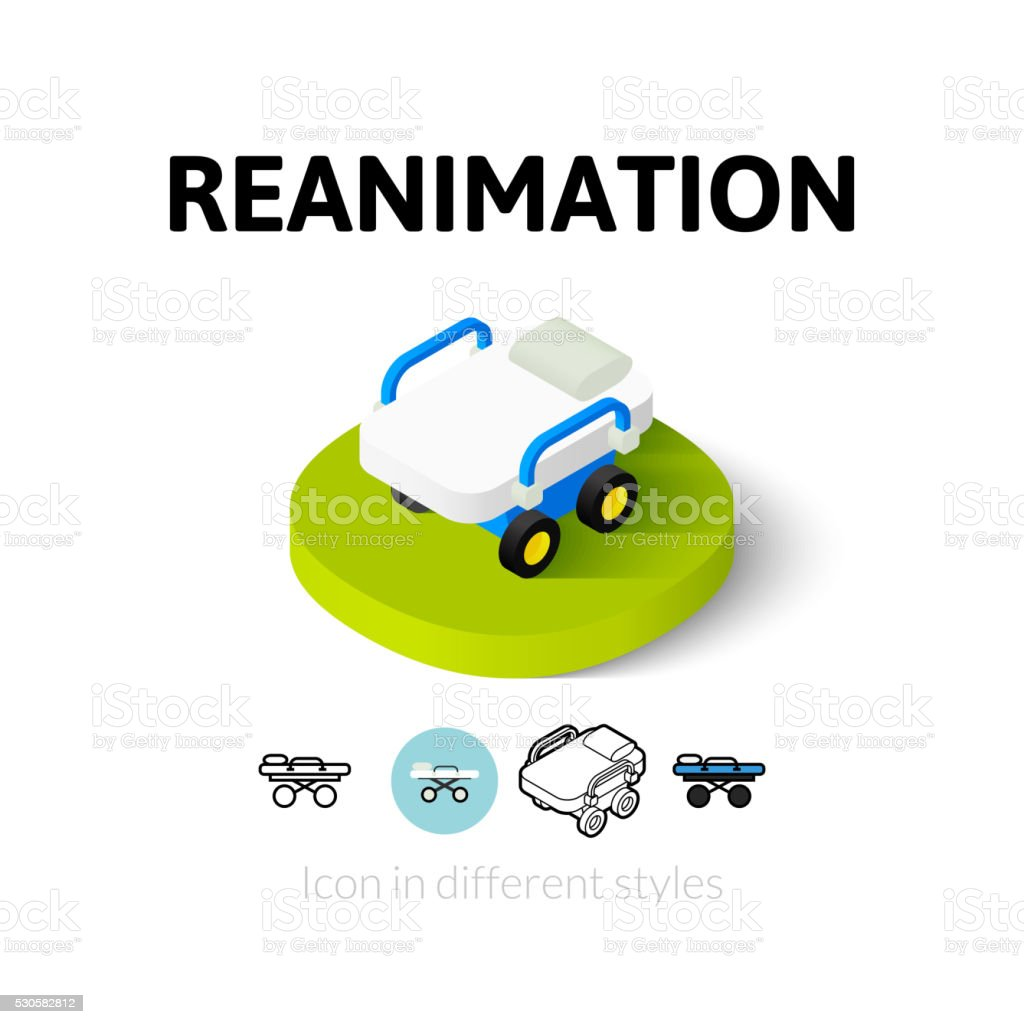 Reanimation icon in different style vector art illustration