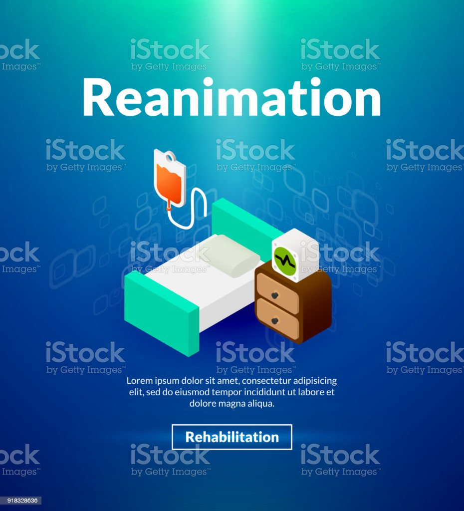 Reanimation poster of isometric color design vector art illustration