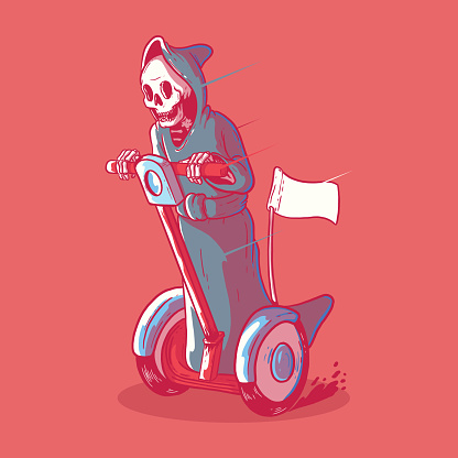 Reaper in a electric vehicle vector illustration.