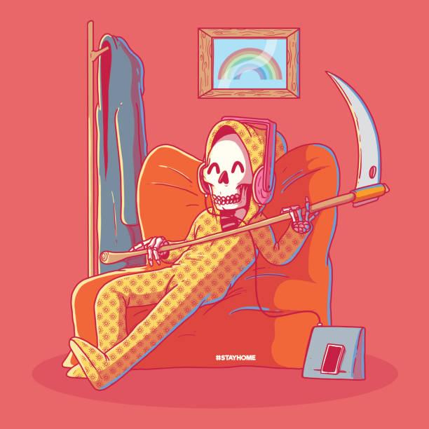 bildbanksillustrationer, clip art samt tecknat material och ikoner med lieman i pyjamas vektor illustration. - coffe with death