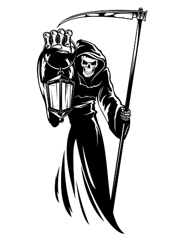 Reaper with scythe and lantern, grim death print