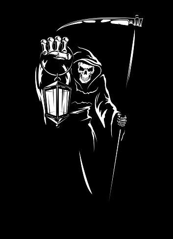Reaper with scythe, grim death with lantern vector