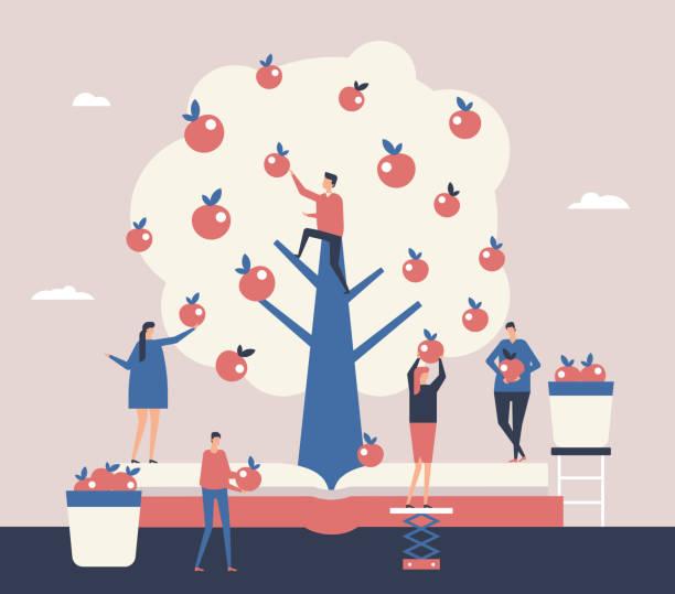 illustrazioni stock, clip art, cartoni animati e icone di tendenza di reaping the harvest - flat design style illustration - raccogliere frutta