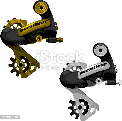 2 isolated rear derailleurs gold and silver shade