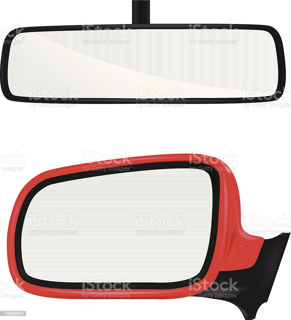 Rear view mirror vector art illustration