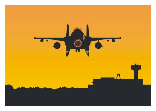 rear view of a fighter jet plane when it's leaving an air base simple illustration of a fighter jet plane when it's leaving an air base. airport silhouettes stock illustrations