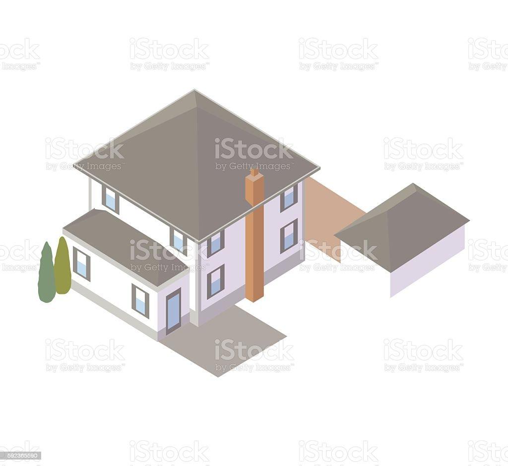 Rear view of house illustration vector art illustration