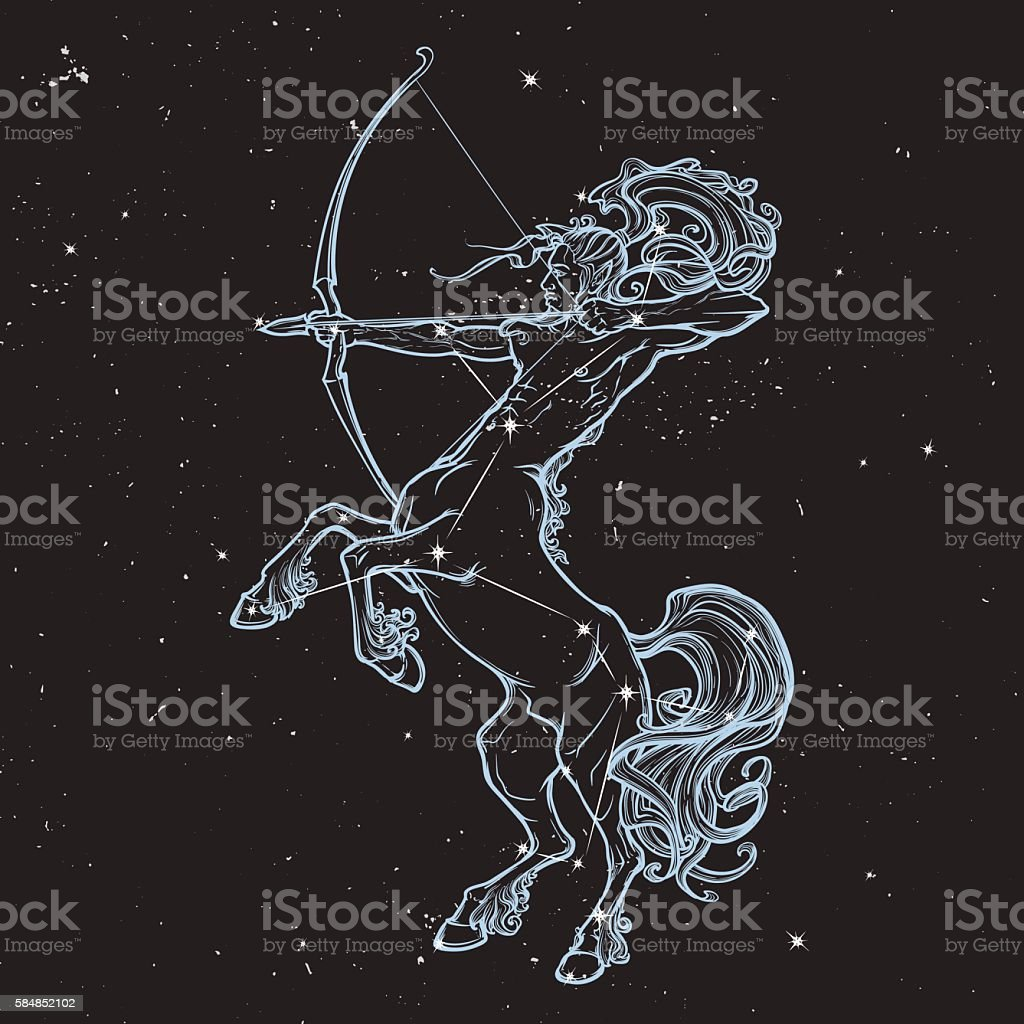 Rearing Centaur holding bow and arrow. Night sky background. - Royaltyfri Bildbakgrund vektorgrafik