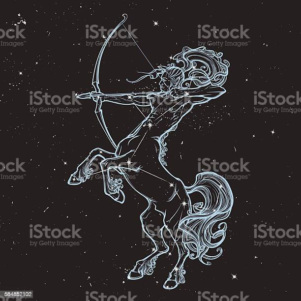 Rearing Centaur Holding Bow And Arrow Night Sky Background-vektorgrafik och fler bilder på Bildbakgrund