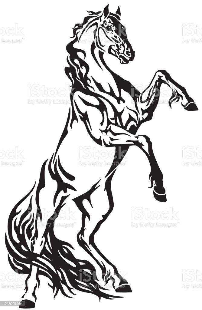 Steigerend Paard Hengst Tattoo Stockvectorkunst En Meer