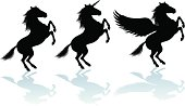 """Graphic silhouette illustrations of a rearing Horse, Unicorn and Pegasus. Check out my """"Vectors Animals & Insects"""" light box for more."""