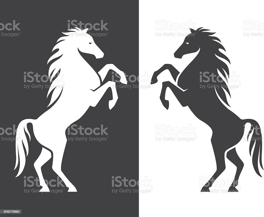 Rearing up horse silhouette vector art illustration