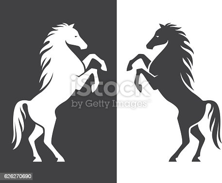 Rearing Up Horse Silhouette Stock Vector Art & More Images ...