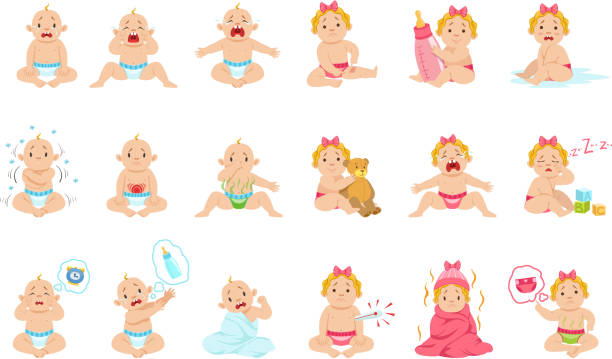 stockillustraties, clipart, cartoons en iconen met redenen baby jongen en meisje is huilen infographic poster - baby dirty